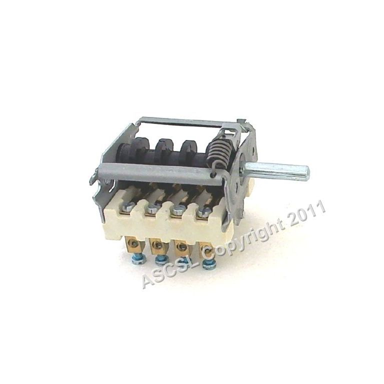4 Position Selector Switch 16A 250V -max 150c D-shaft ø 6x4.6 mm - Ego